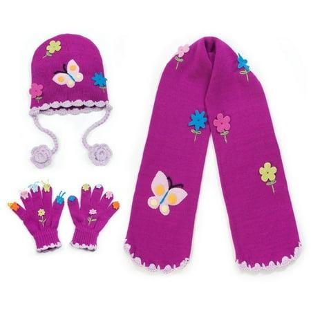 Girls Purple Butterfly Hat Scarf Gloves Handmade Winter - Girls Hand Accessories