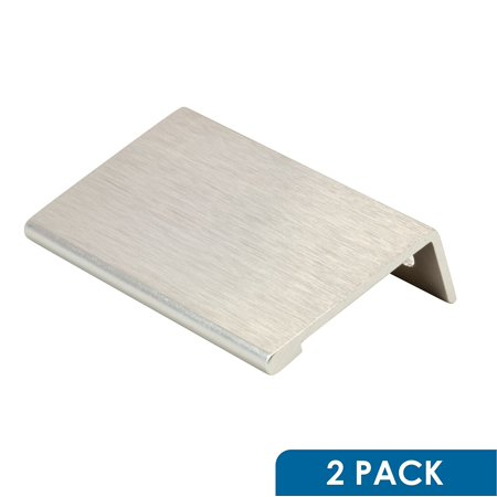2 Pack Rok Hardware 1-31/32' Hole Centers Modern Style Finger Edge Pull Aluminum Metal Brushed Stainless Steel Finish Home Kitchen Door Drawer Cabinet 2-3/4' Length Handle P898950SS Modern Two Handle