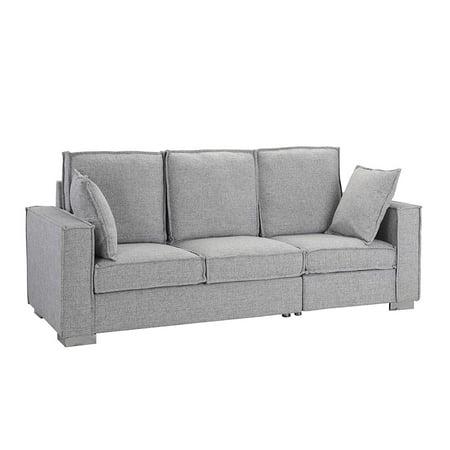 Classic Linen Fabric Sofa, Living Room Couch (Light Grey) (Fabric Classic Sofa)