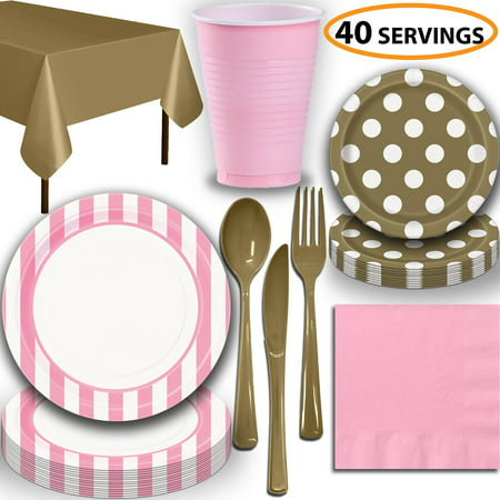 Pink And Gold Dessert Table (Disposable Tableware, 40 Sets - Lovely Pink and Gold - Striped Dinner Plates, Dotted Dessert Plates, Cups, Lunch Napkins, Cutlery, and Tablecloths:  Party Supplies)