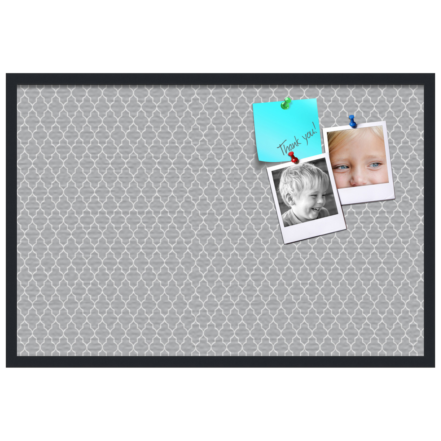 PinPix-627 Printed at 16x16 Inches and Framed in Satin Black PinPix Decorative pin Cork Bulletin Board Made from Canvas