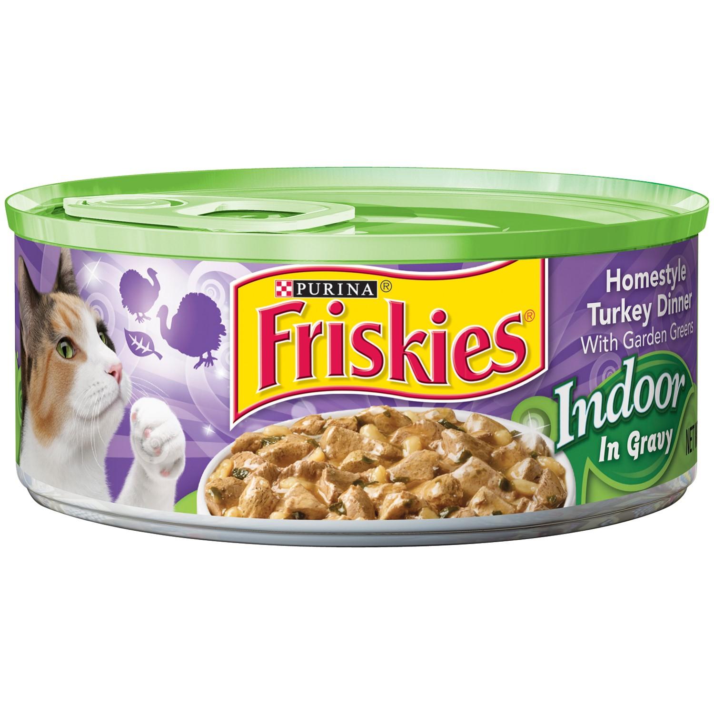 Friskies Indoor Homestyle Turkey Dinner with Garden Greens Wet Cat Food in Gravy, (24) 5.5 oz. Cans