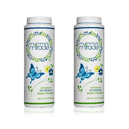 All Natural Mummy's Miracle Moringa Baby Powder Cornstarch 3.5 oz - Pack of 2