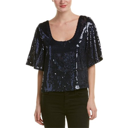 FREE PEOPLE Womens Navy Low Back Sequined Short Sleeve Scoop Neck Blouse Evening Top  Size: S (Low Back Sequin)