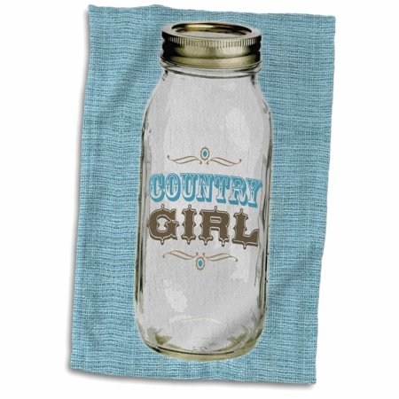 3dRose Mason Jar on Burlap Country Girl in Blue - Towel, 15 by