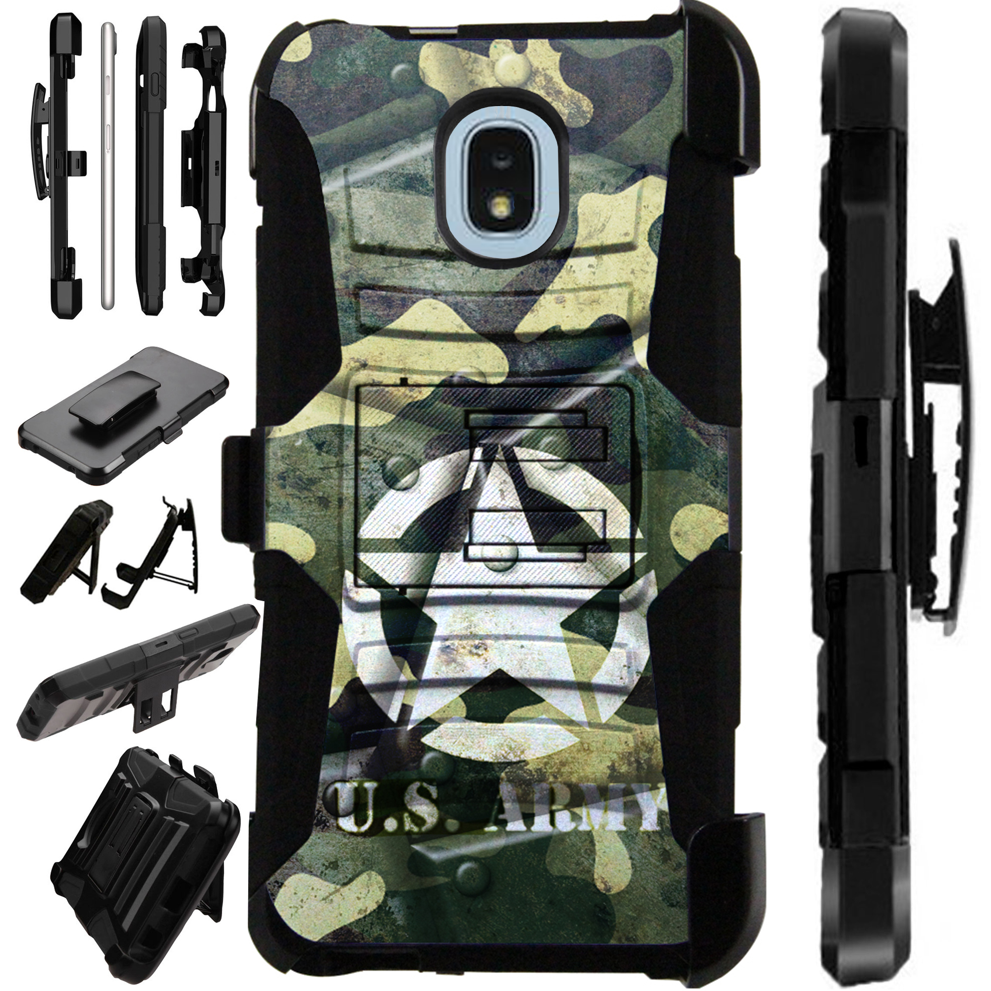 LuxGuard Phone Case Cover For Samsung Galaxy J3V (2018)   J3 Orbit   J3 Achieve   Express Prime 3 (US Army Metal Shell)