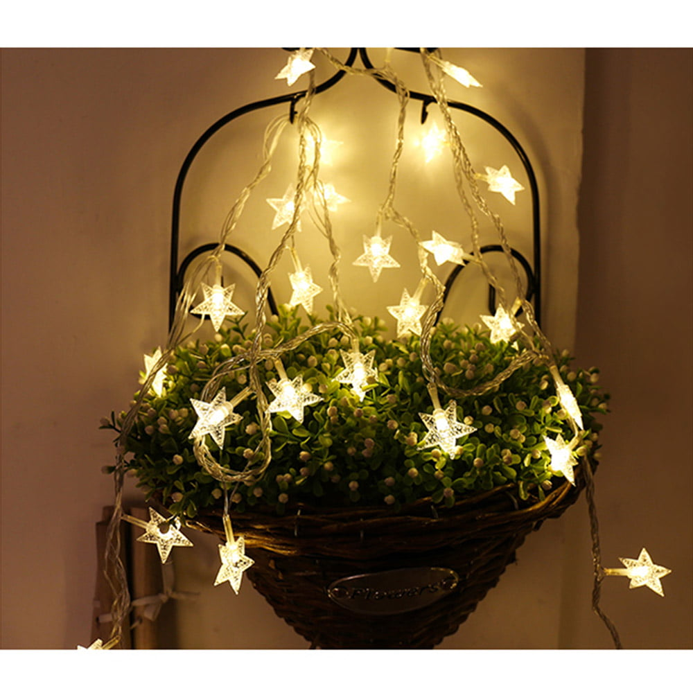 Details about  /LED String Lights Star Garland Indoor Tree Wedding Decor Christmas Fairy Lights