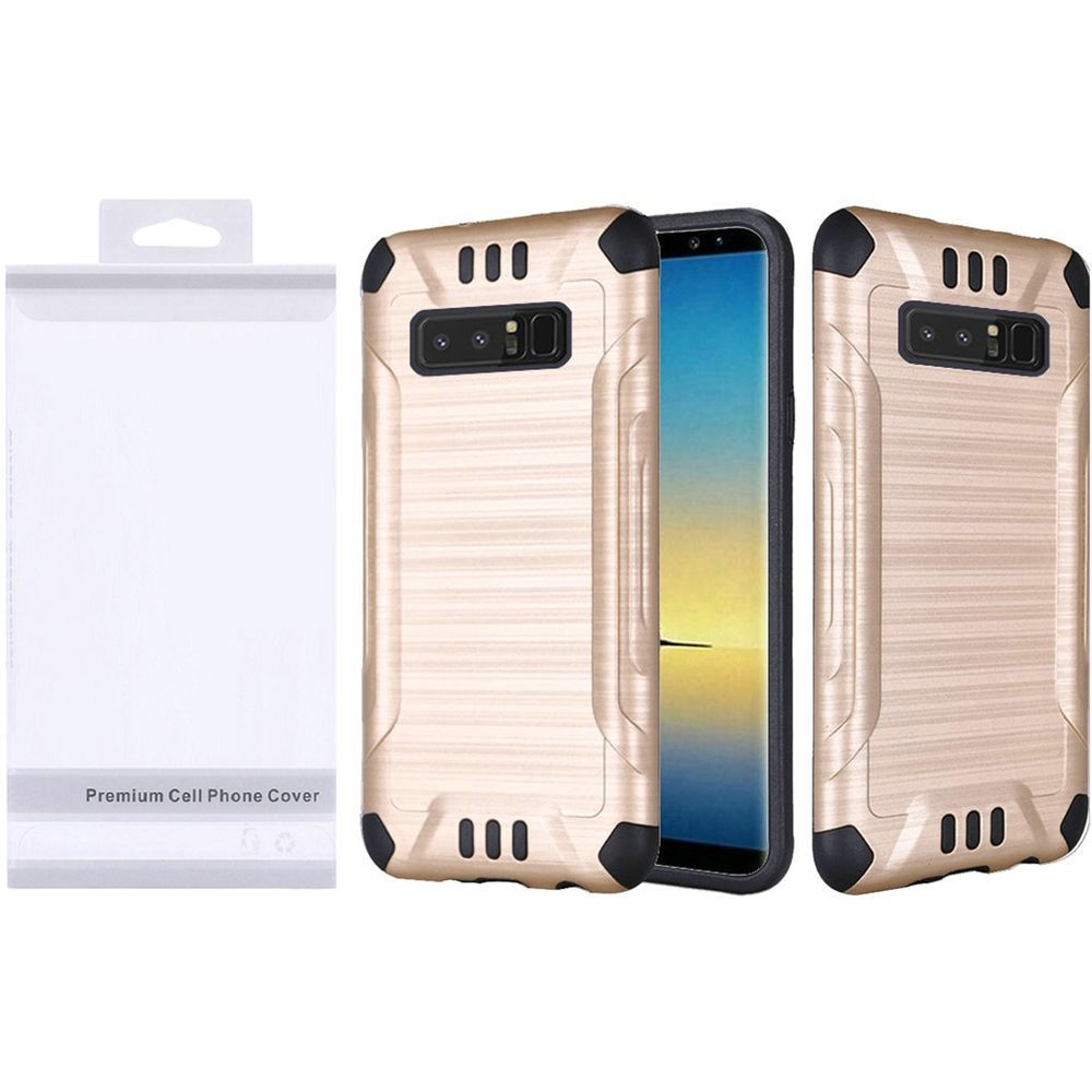 HR Wireless Slim Armor Dual Layer [Shock Absorbing] Hybrid Brushed Hard Plastic/Soft TPU Rubber Case Cover For Samsung Galaxy Note 8, Gold/Black
