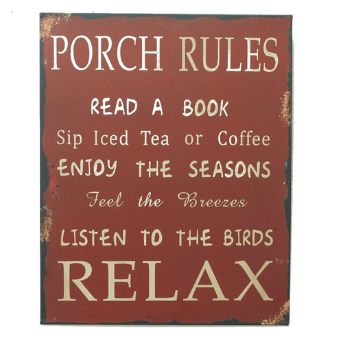 Attraction Design Home 'Porch Rules' Metal Wall D cor