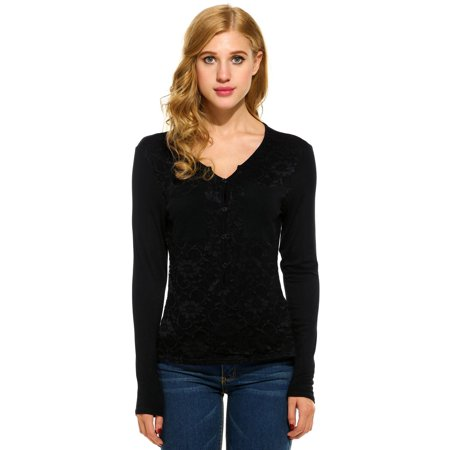 Women Casual V-Neck Long Sleeve Floral Lace Pocket Shirt Tops T2PC - image 7 of 9