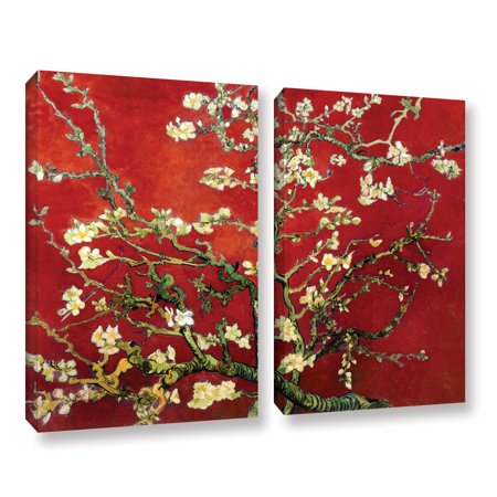 ArtWall Red Blossoming Almond Tree by Vincent van Gogh 2 Piece Wall Art