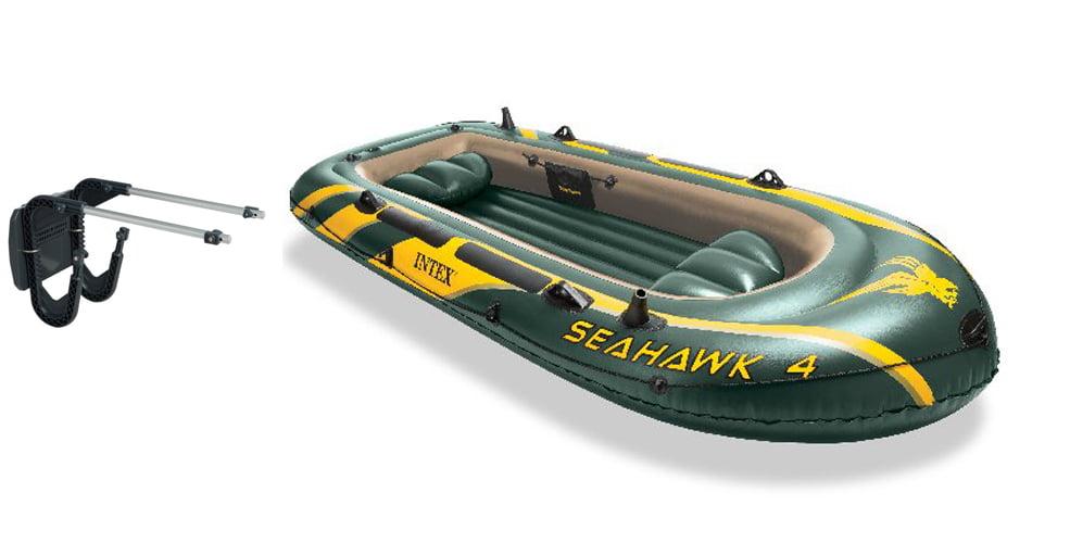 Intex Seahawk 4 Inflatable Boat Set + Oars Pump Motor Mount | 68351E+ 68624E by Intex