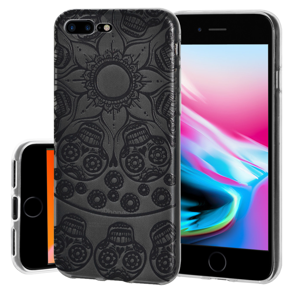 iPhone 8 Plus Case, Premium Soft Gel Clear TPU Graphic Skin Case Cover for Apple iPhone 8 Plus - Mandala Black Tattoo, Support Wireless Charging, Slim Fit, ShockProof