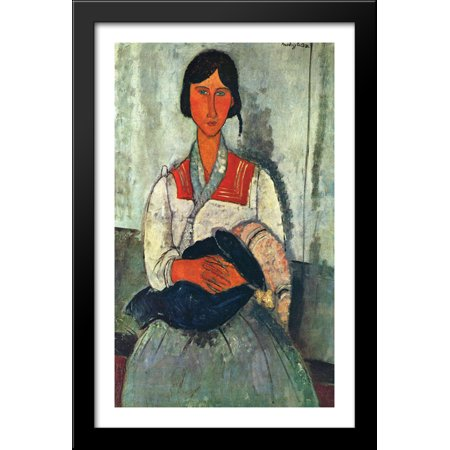 Gypsy Woman with a Baby 26x40 Large Black Wood Framed Print Art by Amedeo Modigliani