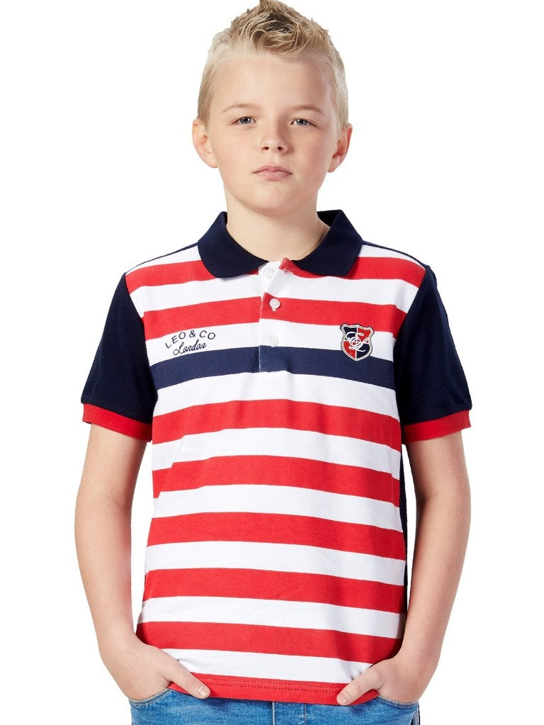 Leo&Lily Big Boys Casual Red White Stripy Polo Short Sleeve