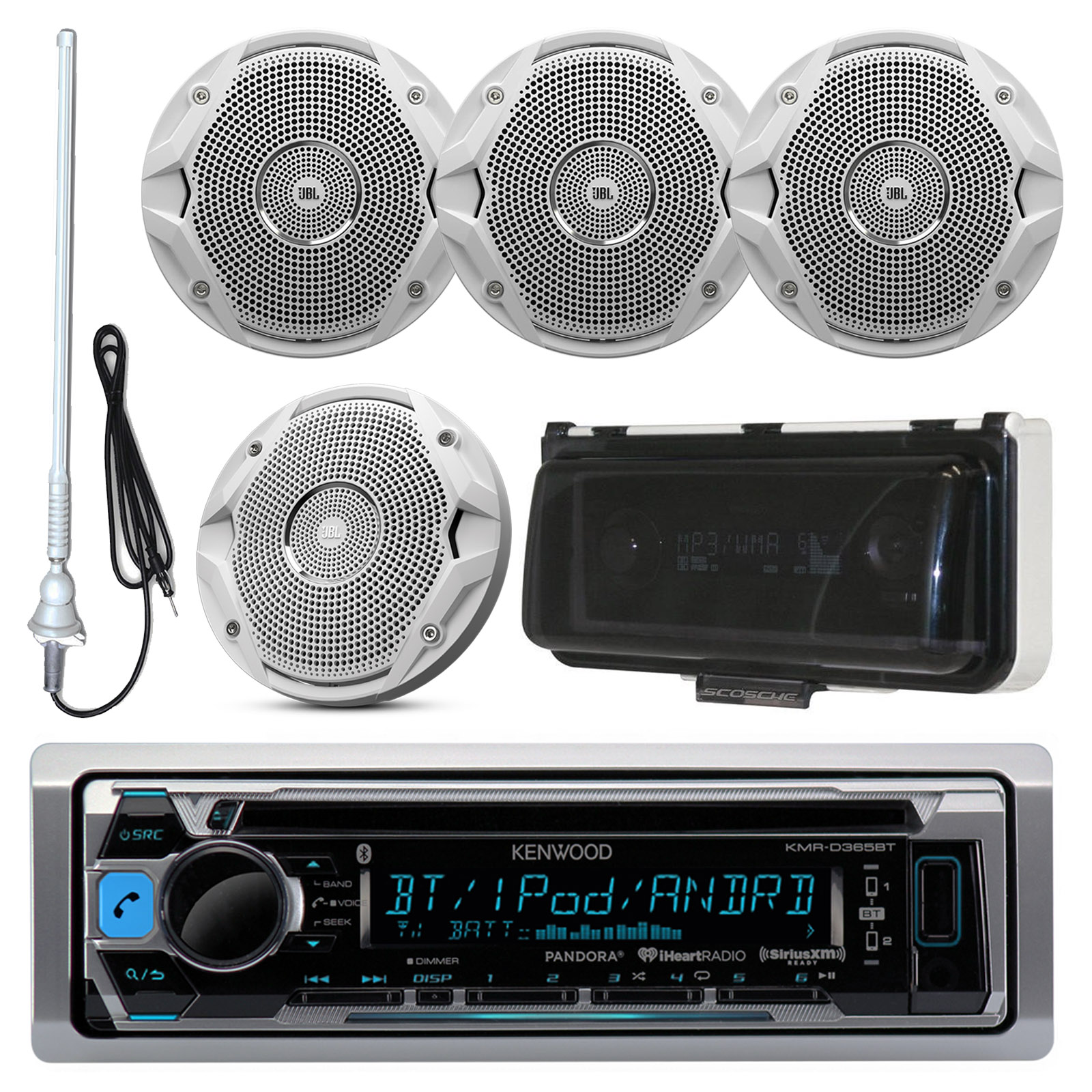 """Kenwood KMRD372BT MP3/USB/AUX Bluetooth Marine Boat Yacht Stereo Receiver CD Player Bundle Combo With 4x Infinity 612m 6.5"""" 2-Way Speakers + Scosche Waterproof Stereo Cover = Enrock 22"""" Radio Antenna"""