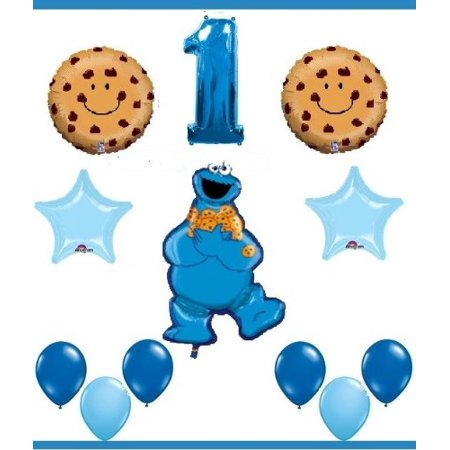 SESAME STREET COOKIE MONSTER First Birthday Party Supplies Balloons One 1st By LGP