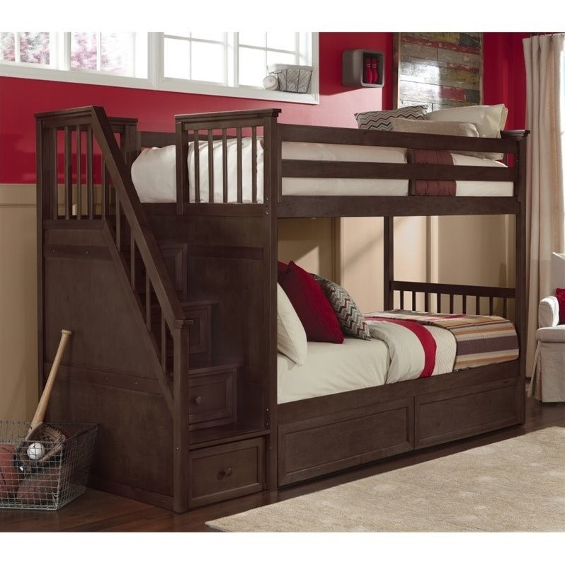 Hillsdale School House Stair Bunk, Chocolate