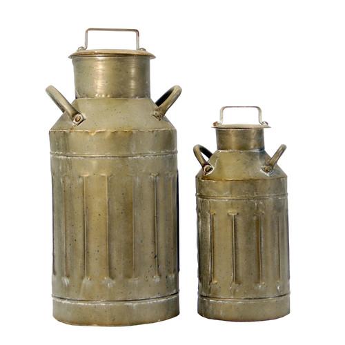American Mercantile 2 Piece Metal Milk Jug Decorative Bottle Set by