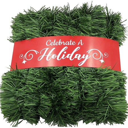50 Foot Garland for Christmas Decorations - Non-Lit Soft Green Holiday Decor for Outdoor or Indoor Use - Home Garden Artificial Greenery, or Wedding Party Decorations ()