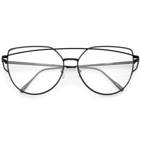 sunglassLA - Oversize Metal Frame Thin Temple Clear Flat Lens Aviator Eyeglasses 62mm - (62mm Aviators)