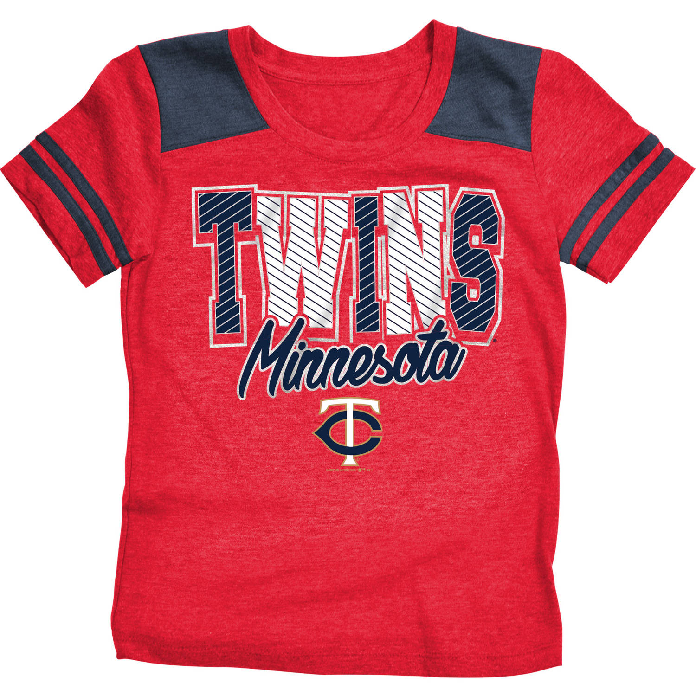 MLB Minnesota Twins Girls Short Sleeve Team Color Graphic Tee