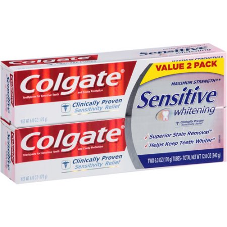 Colgate Maximum Strength Sensitive Whitening Toothpaste, 6 oz, (Pack of 2)
