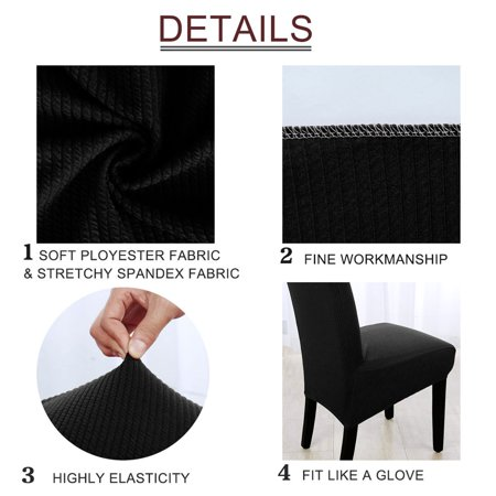 Stretch Knit Jacquard Chair Cover High Back Seat Cover Slipcover Protector Black - image 1 de 7