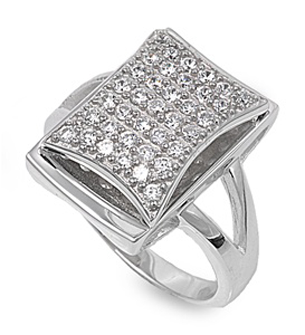 Sterling Silver Women's Clear CZ Ring ( Sizes 6 7 8 9 ) Cute Fashion 925 Band New 14mm Rings by Sac Silver (Size 7)