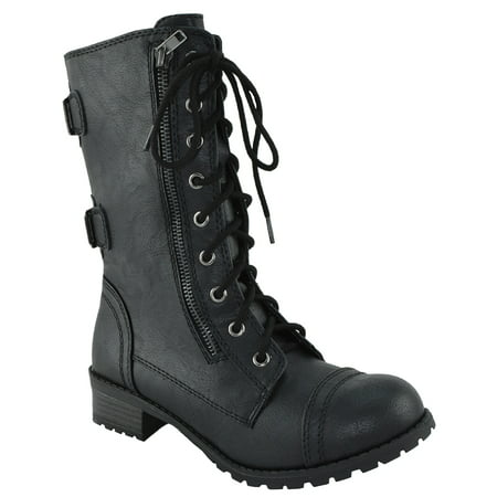 DOME-S Black Soda Women Combat Army Military Motorcycle Riding Flat Boots Buckled 7.5 ()