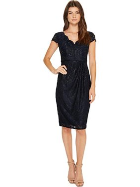 Adrianna Papell Womens Lace Sequined Cocktail Dress