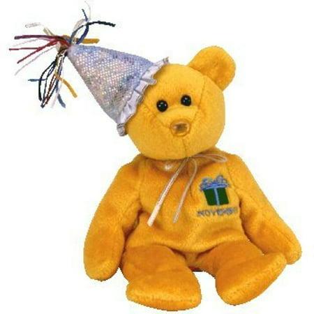 1 X TY Beanie Baby - NOVEMBER the Teddy Birthday Bear (w/ hat)](Baby Teddy Bear Suit)