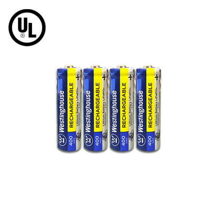 Westinghouse Battery IFR 14430 3.2v 400 mAh Lithium Iron Phosphate LiFePO4 Solar Rechargeable Batteries Outdoor Garden Light Pack of 4 (Lithium Ion Battery Solar)