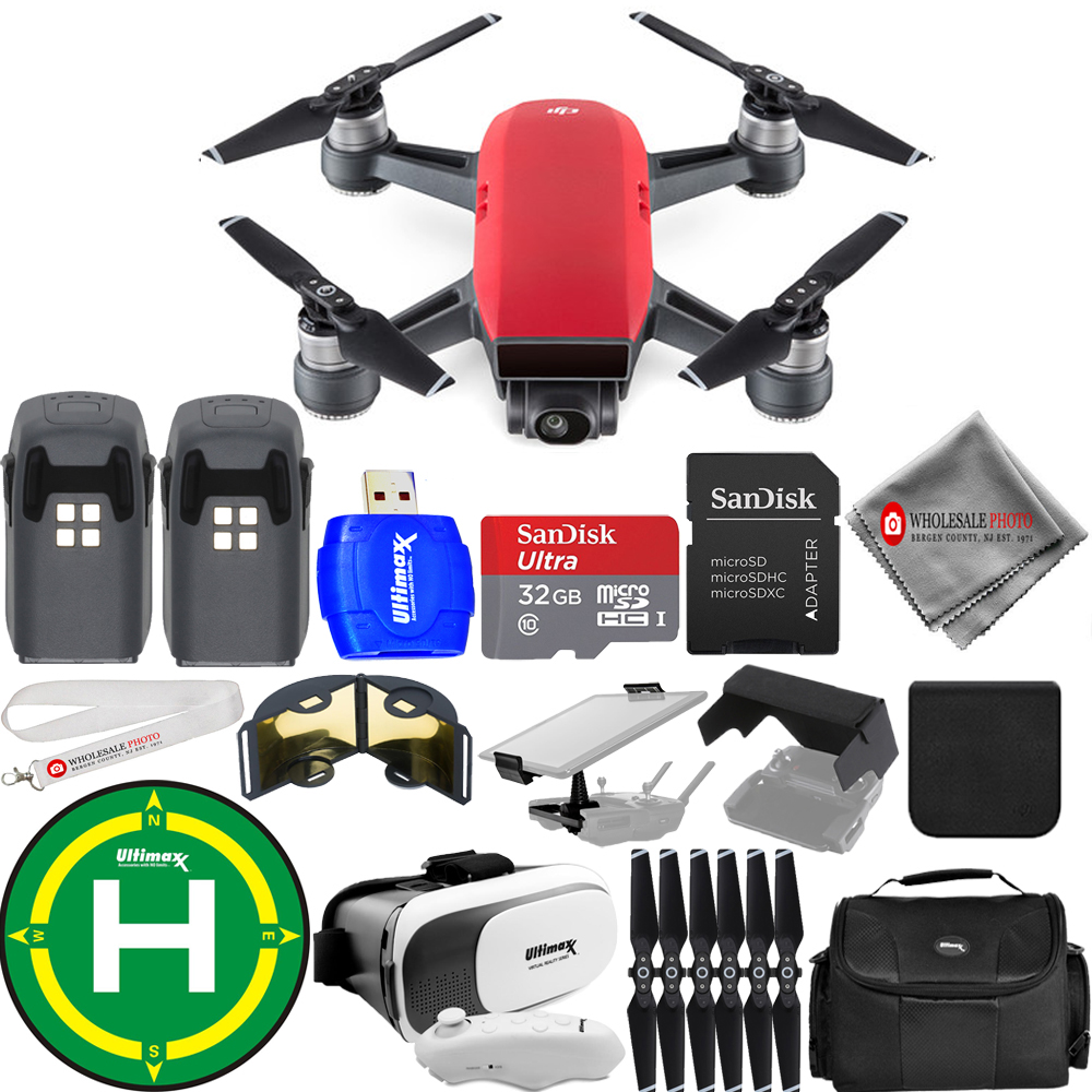 UNASSIGNED DJI Spark Quadcopter (Lava Red) 2 BATTERY (TOT...