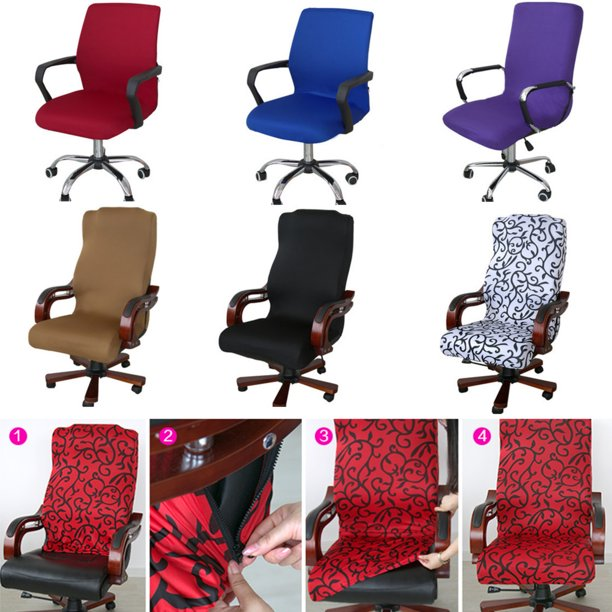 Ousgar 3 Size Office Chair Covers Stretch Washable Computer Chair Slipcovers For Universal Rotating Chair Small Medium Large Only Chair Cover Walmart Com Walmart Com
