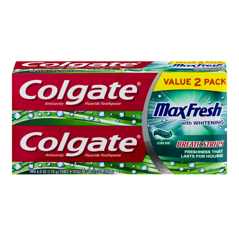 Colgate Max Fresh Toothpaste with Mini Breath Strips, Clean Mint - 6 ounce Twin Pack
