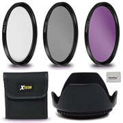 Xtech 55mm Lens Accessories Kit w/ 55mm 3 Piece Filter Kit (UV FLD CPL) + 55mm Lens Hood f/ Nikon Cameras & Lenses including Sony Alpha A9, A7R II, A7 II, A7 A7R A7S A6500 A6300 A6000 A55 A65 A77 A99
