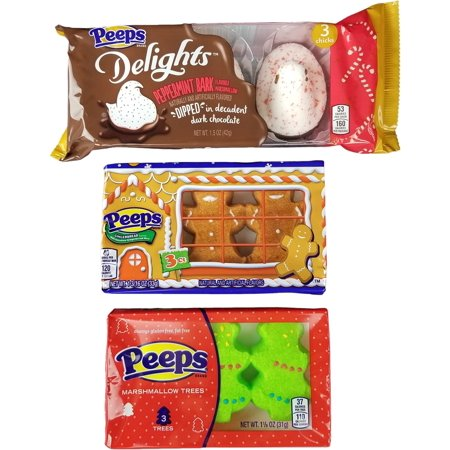 Marshmallow Peeps Candy Chicks Christmas Variety Pack, Holiday Xmas Flavors - Peppermint Bark - Gingerbread - Trees - 3 Packs, 3 Ct. (Christmas Peppermint Bark)