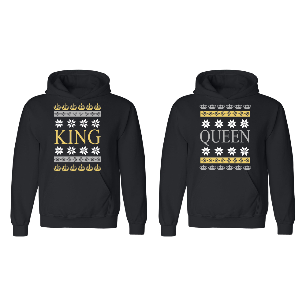 King Queen Ugly Christmas Couple Matching Crewneck Valentines Anniversary Christmas Gift Men Small Women Small