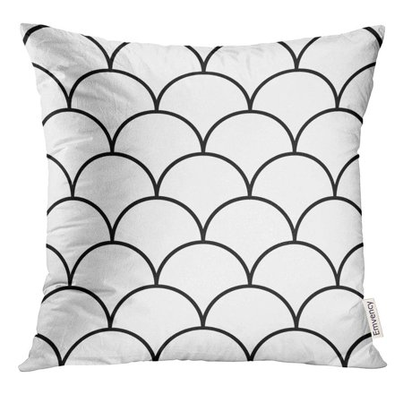 CMFUN Fish Scale Asian Traditional with Repeated Scallops Black Curves on White Pattern Design Semicircles Grid Pillow Case 18x18 Inches Pillowcase