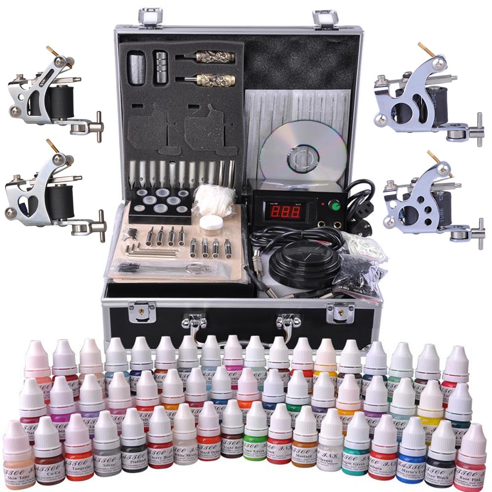 Complete Tattoo Kit 54 Color Ink 4 Machine Guns Set Foot Switch LCD ...