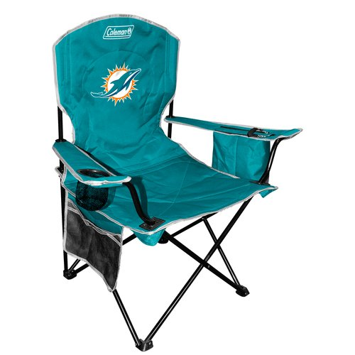 Genial Coleman Quad Chair With 4  To 6 Can Cooler, Miami Dolphins