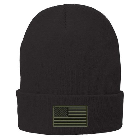 Trendy Apparel Shop US American Flag Olive Embroidered Winter Folded Long Beanie - -