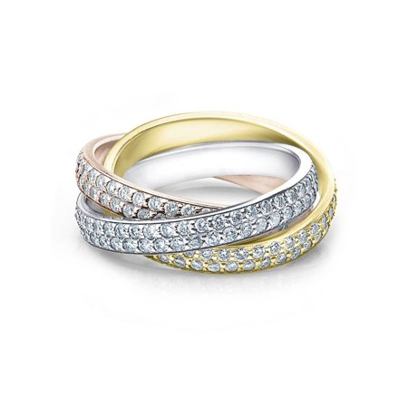 Tri Gold 2 5/8ct Rolling Ring Diamond Eternity Band - Eternity Rolling Ring