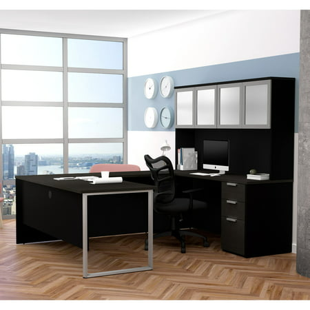 Premium Plus Hutch - Pro-Concept Plus U-Desk with Frosted Glass Door Hutch in Deep Grey & Black