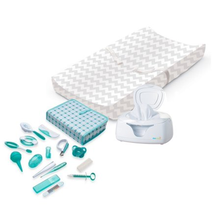 Summer Infant Contoured Changing Pad with Ultra Plush Cover (Chevron), Wipes Warmer & Nursery Health Care Kit