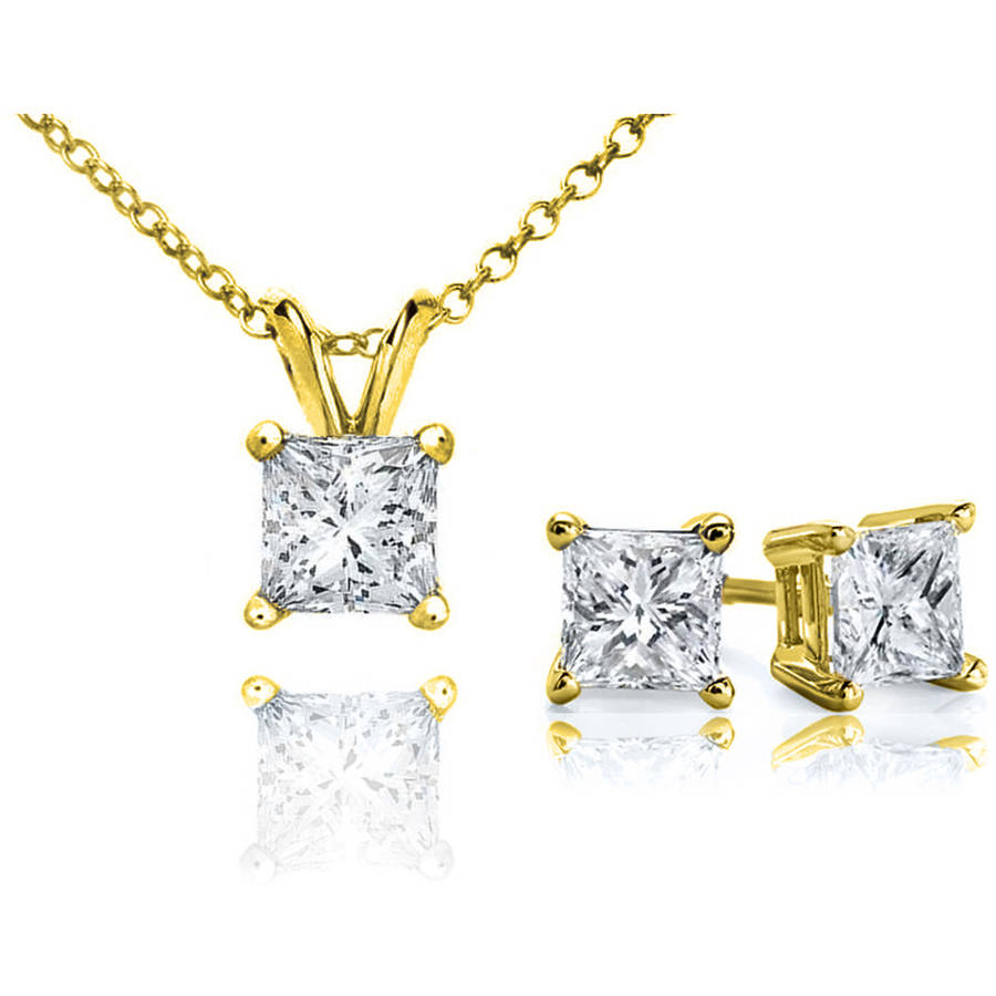 Chetan Collection 0.33 Carat T.W. Diamond 10kt Yellow Gold Princess-Cut Pendant and Earring Set by Sparkle & Dazzle LLC / Chetan Collection