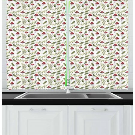 Maroon And White (Mushroom Curtains 2 Panels Set, Boletus Pattern Watercolor Fungus and Foliage Leaves Autumn, Window Drapes for Living Room Bedroom, 55W X 39L Inches, Reseda Green Maroon and White, by)