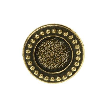 TierraCast Pewter Button, Round Beaded Bezel Design 12mm Diameter, 1 Piece, Brass Oxide