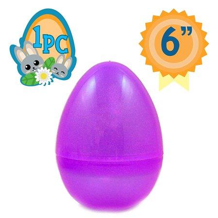 Totem World 6-Inch Jumbo Fillable Plastic Easter Egg Hunt Party Supply Pack - Transparent Purple Glitter Color Plastic Big Egg